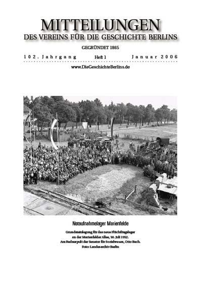 Mitteilungen 2006 Heft 1 Die Geschichte Berlins Verein Für Die